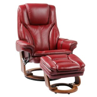 Nardone Leather Manual Swivel Recliner with Ottoman by Latitude Run