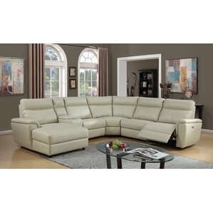 Nhan Power Gel Leather Reclining Sectional  sc 1 st  Wayfair : reclining leather sectional - islam-shia.org