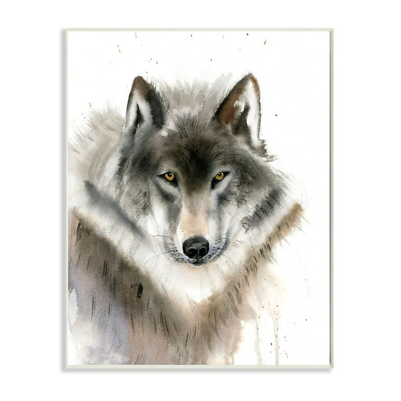 Millwood Pines Neutral Watercolor Dripping Wolf Panoramic Graphic Art Print Set On Canvas Wayfair