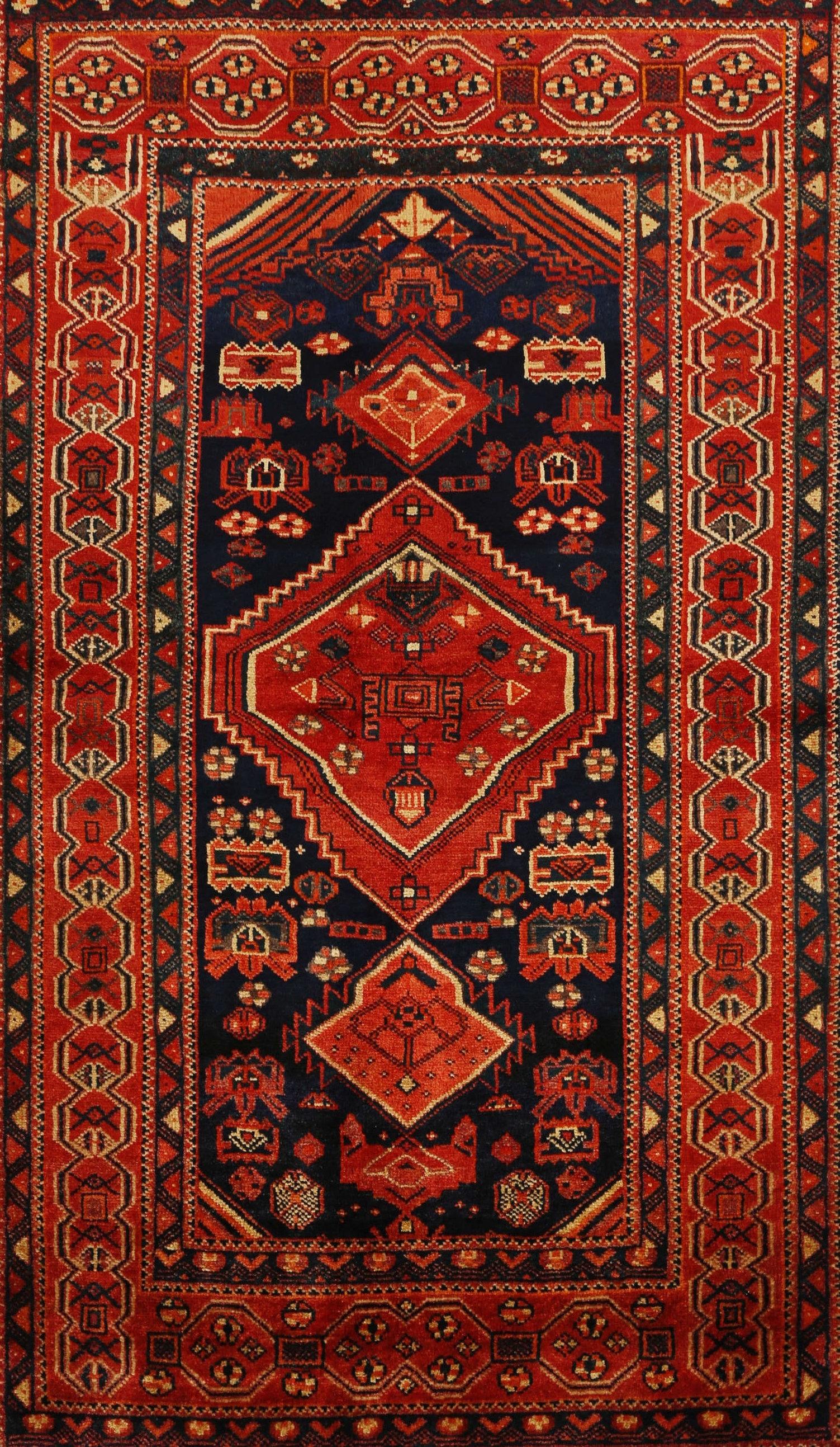 Belkaya Traditional Red Black Area Rug