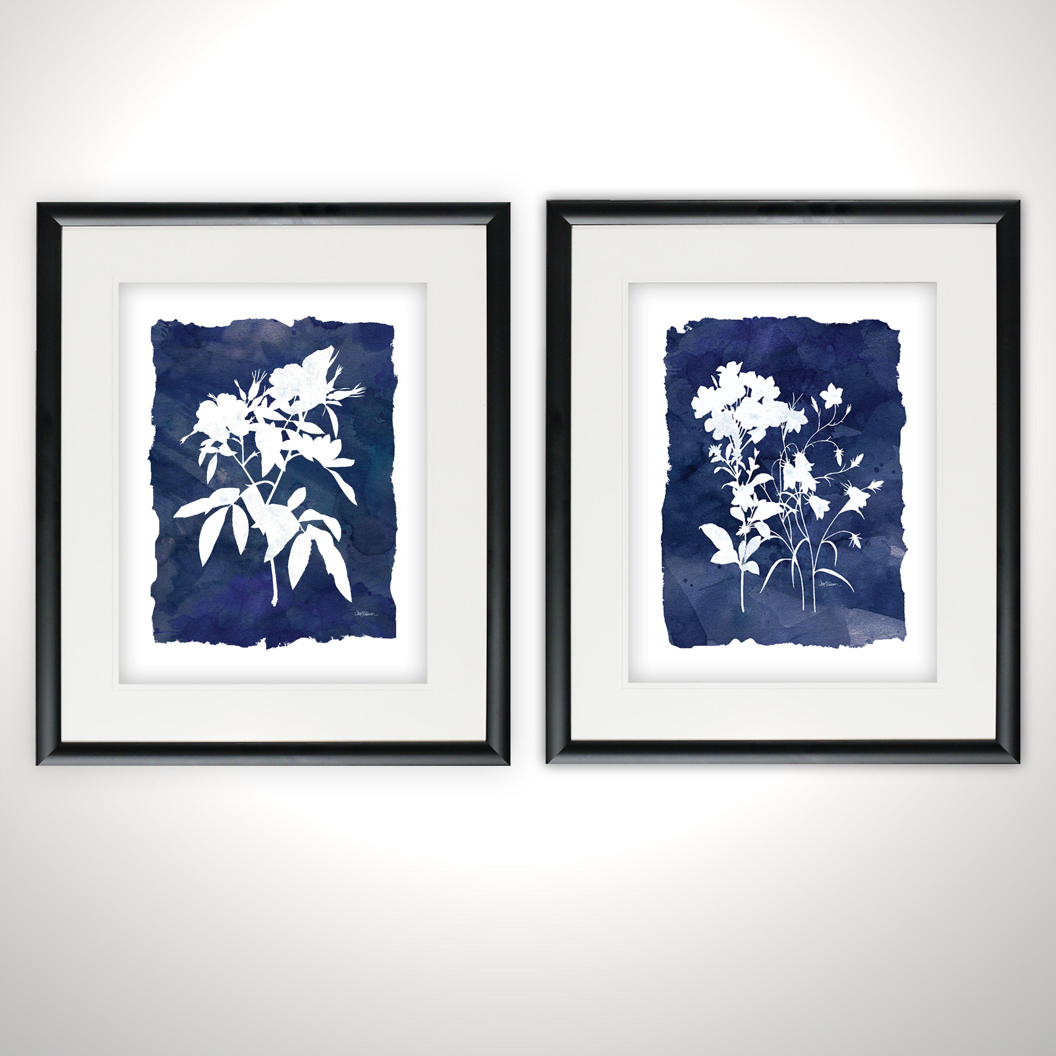 Latitude Run Indigo Botanical 2 Piece Picture Frame Print Set On Paper Reviews Wayfair