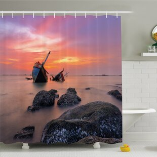 Ocean Sunken Boat Vessel in Foggy Water before Exquisite Sky at Sunset Image Shower Curtain Set