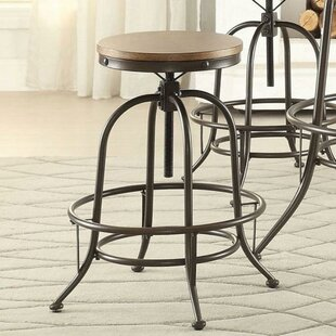 Flora Wood/Metal Backless Adjustable Height Swivel Bar Stool (Set of 2) 17 Stories