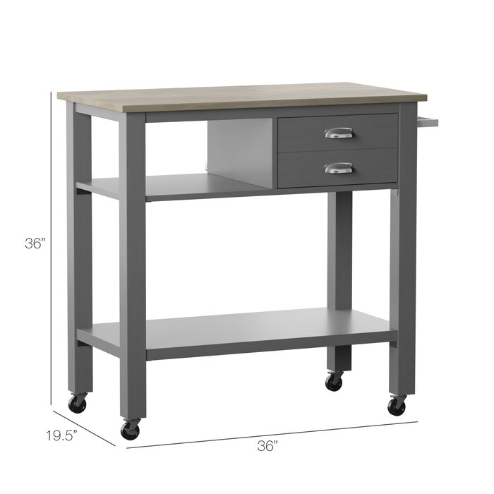 Newtowne Rolling Kitchen Cart with Solid Wood Top