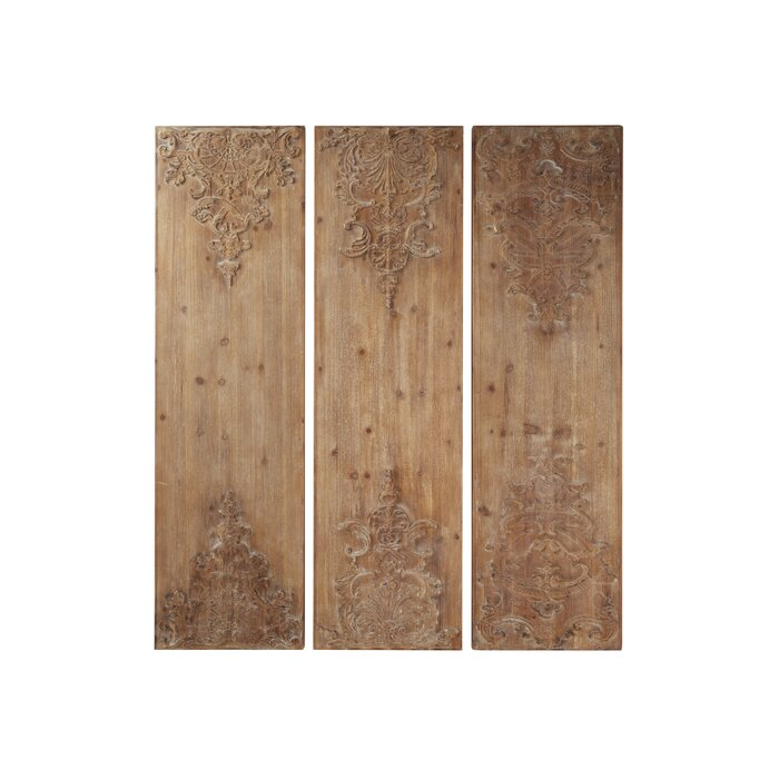 3 Piece Hand Carved Natural Wood Panels With Antique And Acanthus Carvings Wall Decor Set