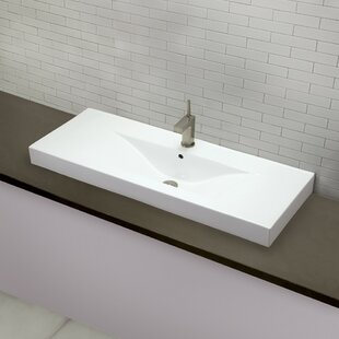 DECOLAV Cityview Ceramic Rectangular Vessel Bathroom Sink with Overflow
