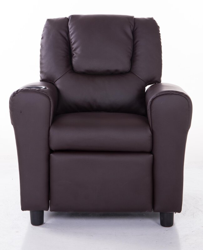 PU Leather Comfortable Kids Recliner With Cup Holder