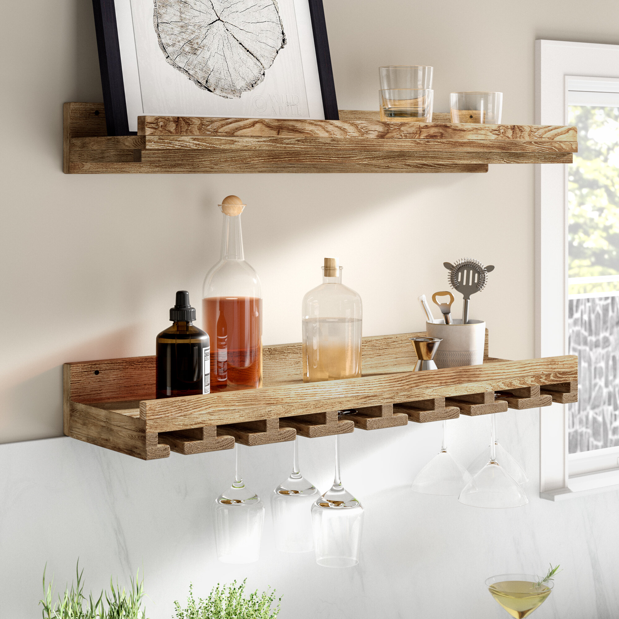 Trent Austin Design Bernon Solid Wood Wall Mounted Wine Glass Rack Reviews Wayfair