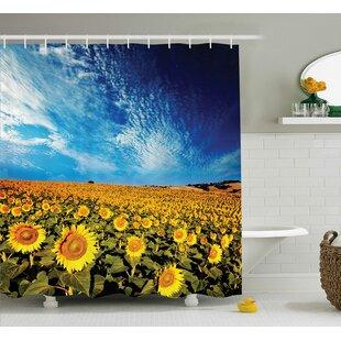 Compare prices Faye Sunflower Garden Nature Shower Curtain ByEbern Designs