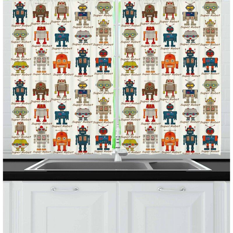 East Urban Home Robot Kitchen Curtain Wayfair