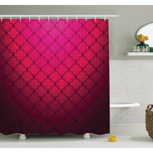 Damask Textured Embellished Geometric Figures Romantic Style Vintage Art Print Shower Curtain Set