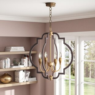 Astin 4-Light Geometric Chandelier by Everly Quinn