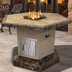 Cal Flame Stucco and Tile Dining Height Square Propane Gas Fire Pit Table with Log Set and Lava Rocks