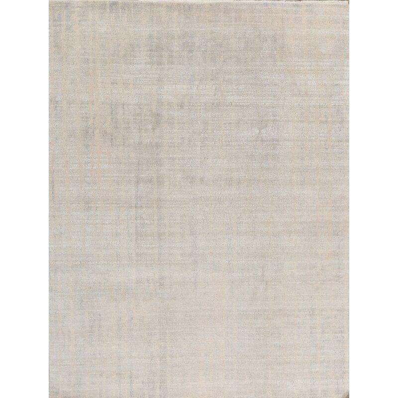 Bokara Rug Co Inc Aurora Abstract Hand Knotted Wool Ivory Blue Area Rug Wayfair