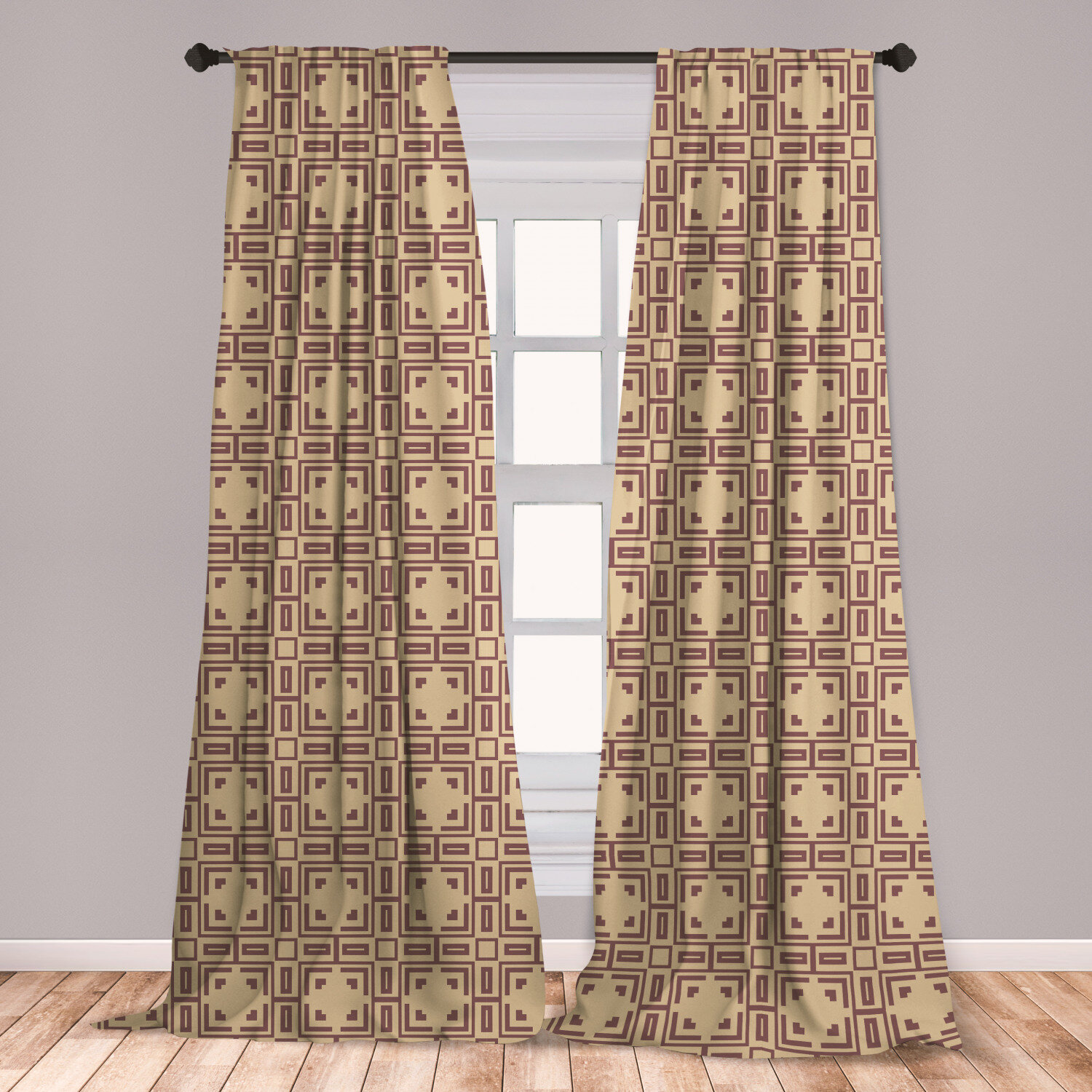 East Urban Home Art Deco Geometric Room Darkening Rod Pocket Curtain Panels Wayfair