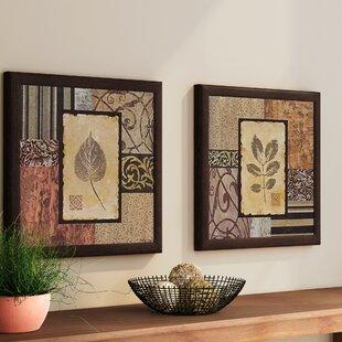 ff982cd3f23  Semptember Leaves  2 Piece Framed Graphic Art Print Set on Glass