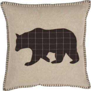 Dubay Applique Bear 100% Cotton Throw Pillow