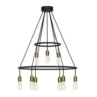 Brayden Studio Usry 9-Light Wagon Wheel Chandelier