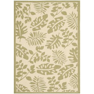 Martha Stewart Paradise Creme/Green Indoor/Outdoor Area Rug