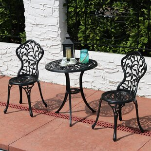 Ophelia & Co. Moravia Outdoor Garden Patio Cast Aluminum 3-Piece Bistro Set