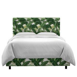 Promfret Swaying Palm Aloe Border Linen Upholstered Panel Bed by Beachcrest Home