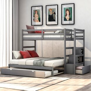 Canereed Twin over King Bunk Bed with Trundle Drawers and Shelves