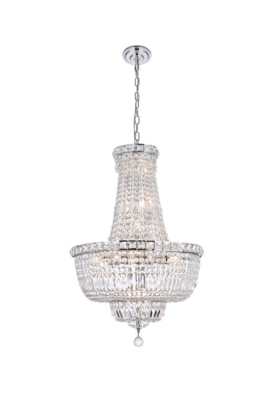 House of Hampton Fulham 22 - Light Unique / Statement Empire Chandelier with Crystal Accents