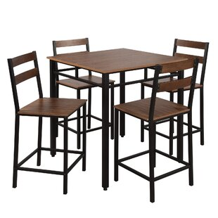 Rech 5 Piece Counter Height Solid Wood Dining Set by Red Barrel Studio