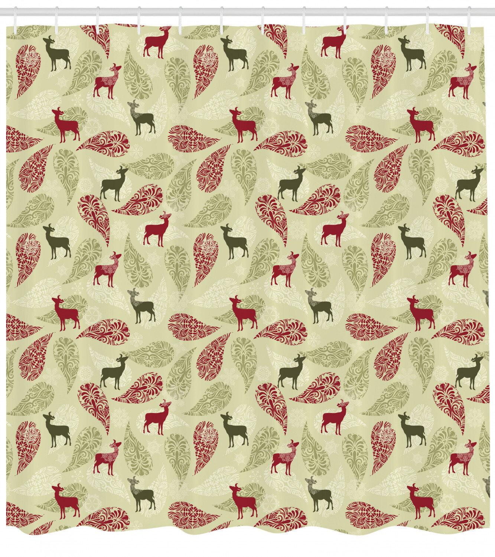 Deer Shower Curtain Set Hooks