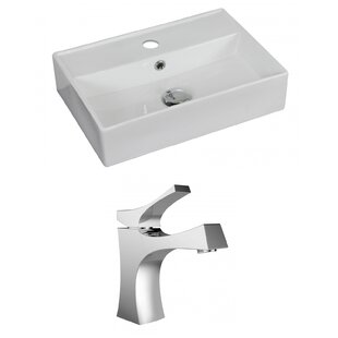 Ceramic 20 Wall Mount Bathroom Sink with Faucet and Overflow American Imaginations