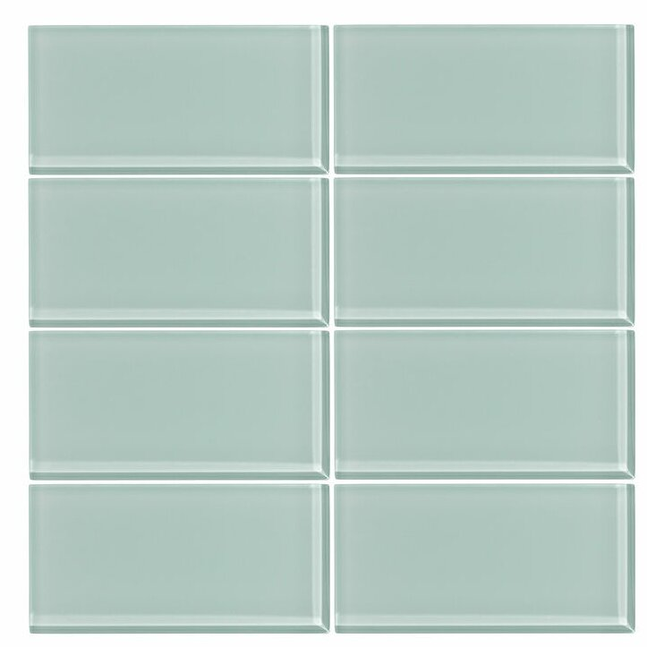 "3"" x 6"" Glass Subway Tile in Seafoam"