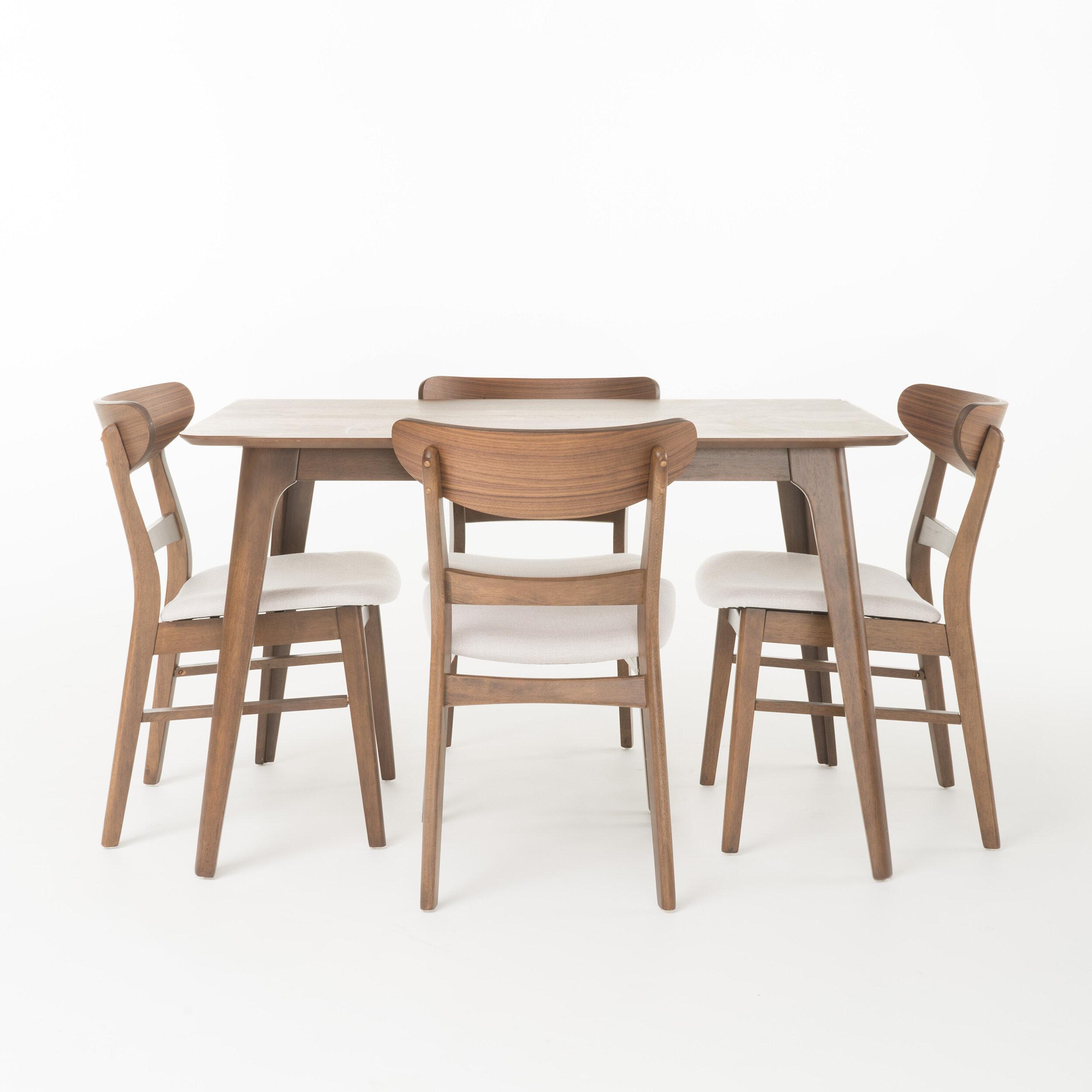 George Oliver Eshaan 5 Piece Solid Wood Dining Set Reviews Wayfair
