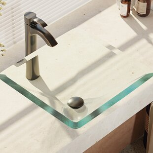 Glass Square Vessel Bathroom Sink with Faucet by René