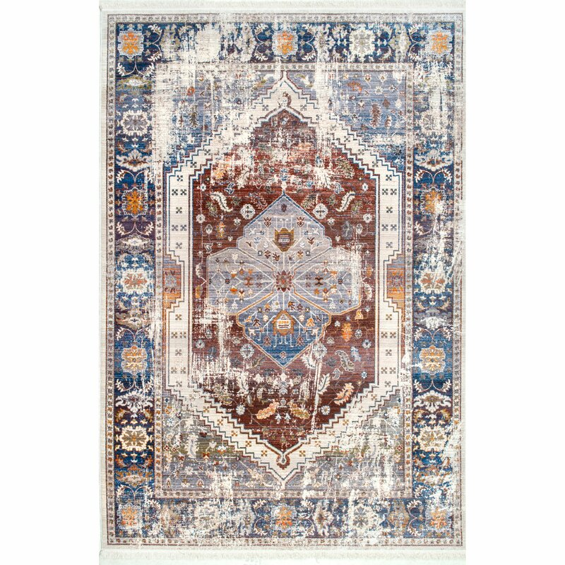 Okeechobee Rust Blue Area Rug