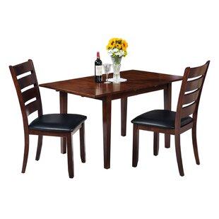 Alcott Hill Assante Modern 3 Piece Solid Wood Dining Set