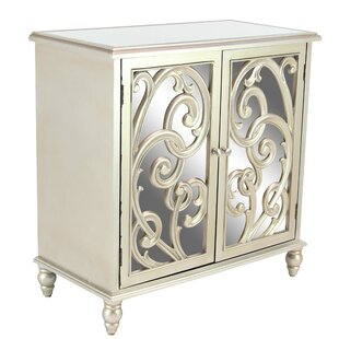 Maira Modern Wood and Mirror Scrolled 2 Door Accent Cabinet