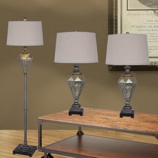 House of Hampton Bonnert 3 Piece Metal and Mercury Glass Table and Floor Lamp Set