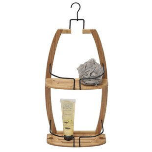 Evideco Over the Showerhead Caddy for Shampoo, Soap, Conditioner- Bamboo-Wire Metal