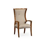 Tufted Cotton Upholstered Wingback Arm Chair in Gray by Jonathan Charles Fine Furniture