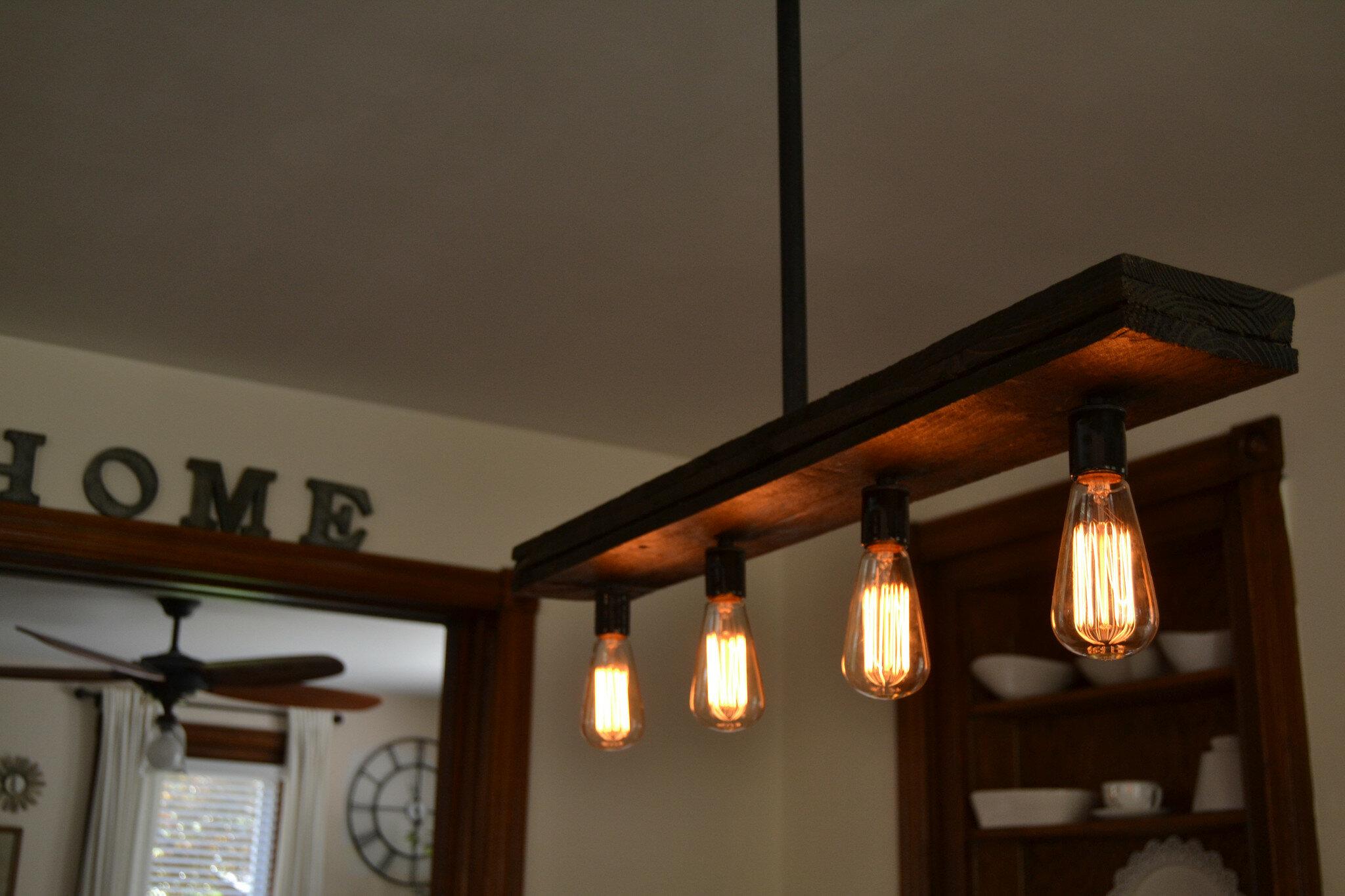 Triple wood 4 light kitchen island pendant