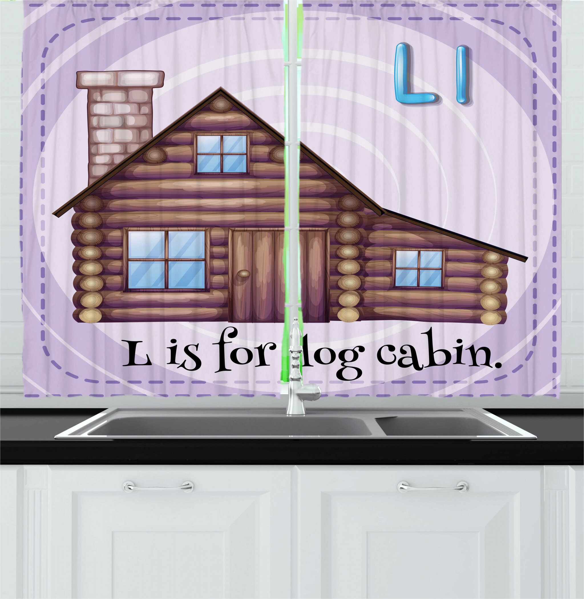 2 Piece Log Cabin Alphabet Flashcard for L Letter with Image of Log Cabin  Kitchen Curtain Set
