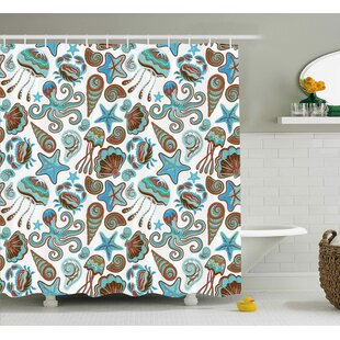 Katharine Illustration of Sea Life Crabs Octopus Shells Starfish and Medusa Print Single Shower Curtain