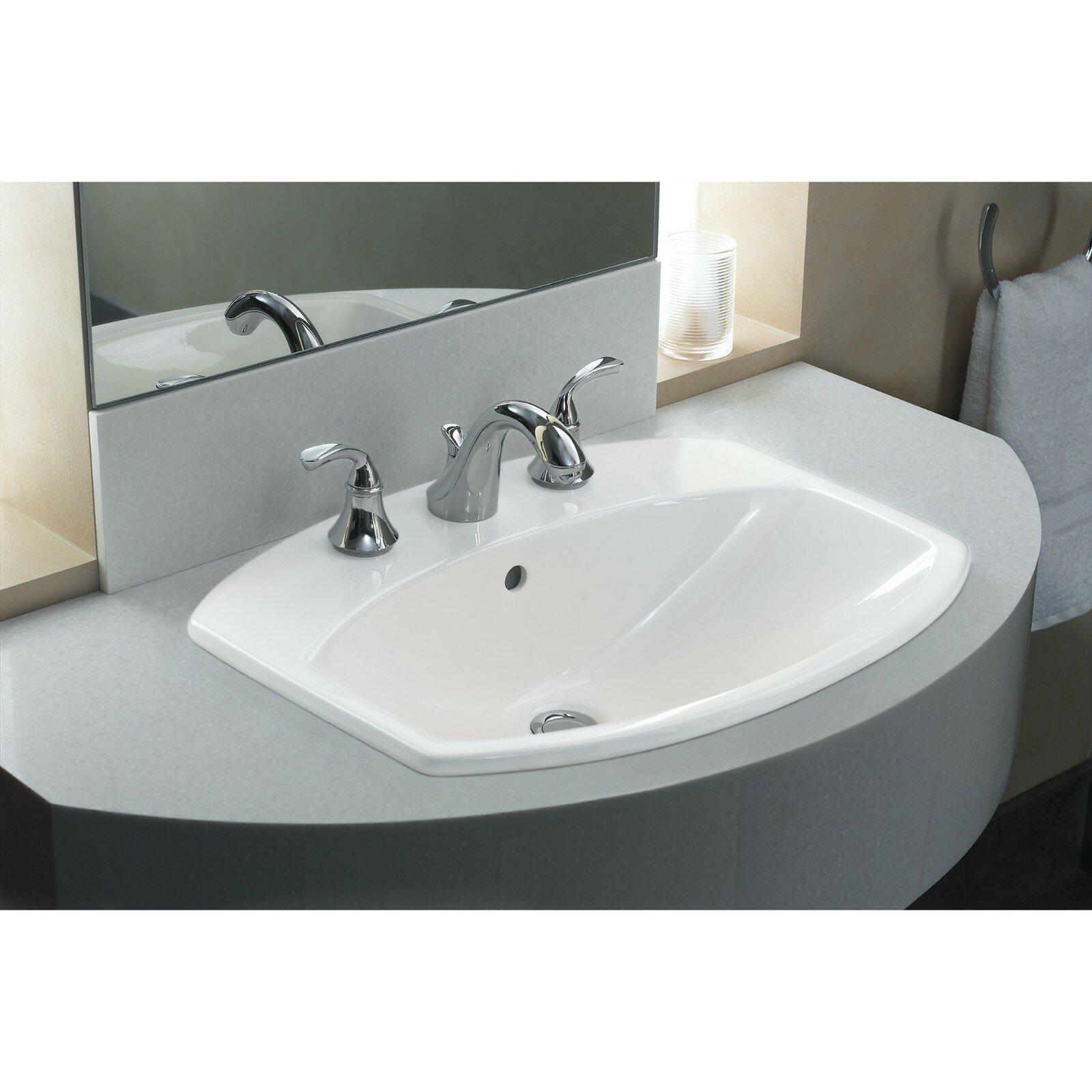 K 2351 8 0 Kohler Cimarron Ceramic Rectangular Drop In Bathroom Sink With Overflow Reviews Wayfair
