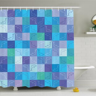 Where buy  Sea Animals Playful Dolphin Figures in Mosaic of Colored Squares Underwater Life Theme Shower Curtain Set ByAmbesonne