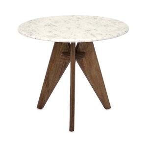 Ivy Bronx Conduit Avenue Fabulous Tall Marble and Wood End Table