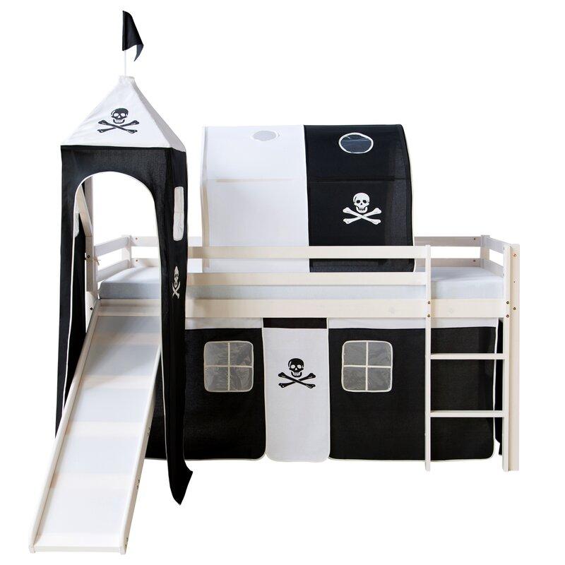 roomie kidz halbhochbett alyssa mit rutsche turm vorhang. Black Bedroom Furniture Sets. Home Design Ideas