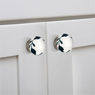 Handpainted Floral Basil Round Knob (Set Of 8) by Mascot Hardware Bargain