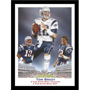 'Tom Brady 5 Time Super Bowl Champion 4 Time Super Bowl MVP' by Darryl Vlasak Framed Memorabilia by Buy Art For Less