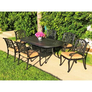 Fleur De Lis Living Camptown 7 Piece Sunbrella Dining Set with Cushions