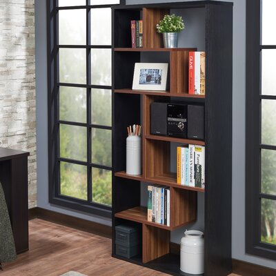 Salyer Geometric Bookcase Ebern Designs Finish: Black